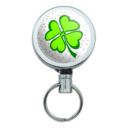 Lots of Luck Lucky Irish Four Leaf Clover Retractable Belt Clip Badge Key