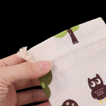 Cotton Linen Fox Pattern Gift Candy Bag Drawstring Jewelry Trinket