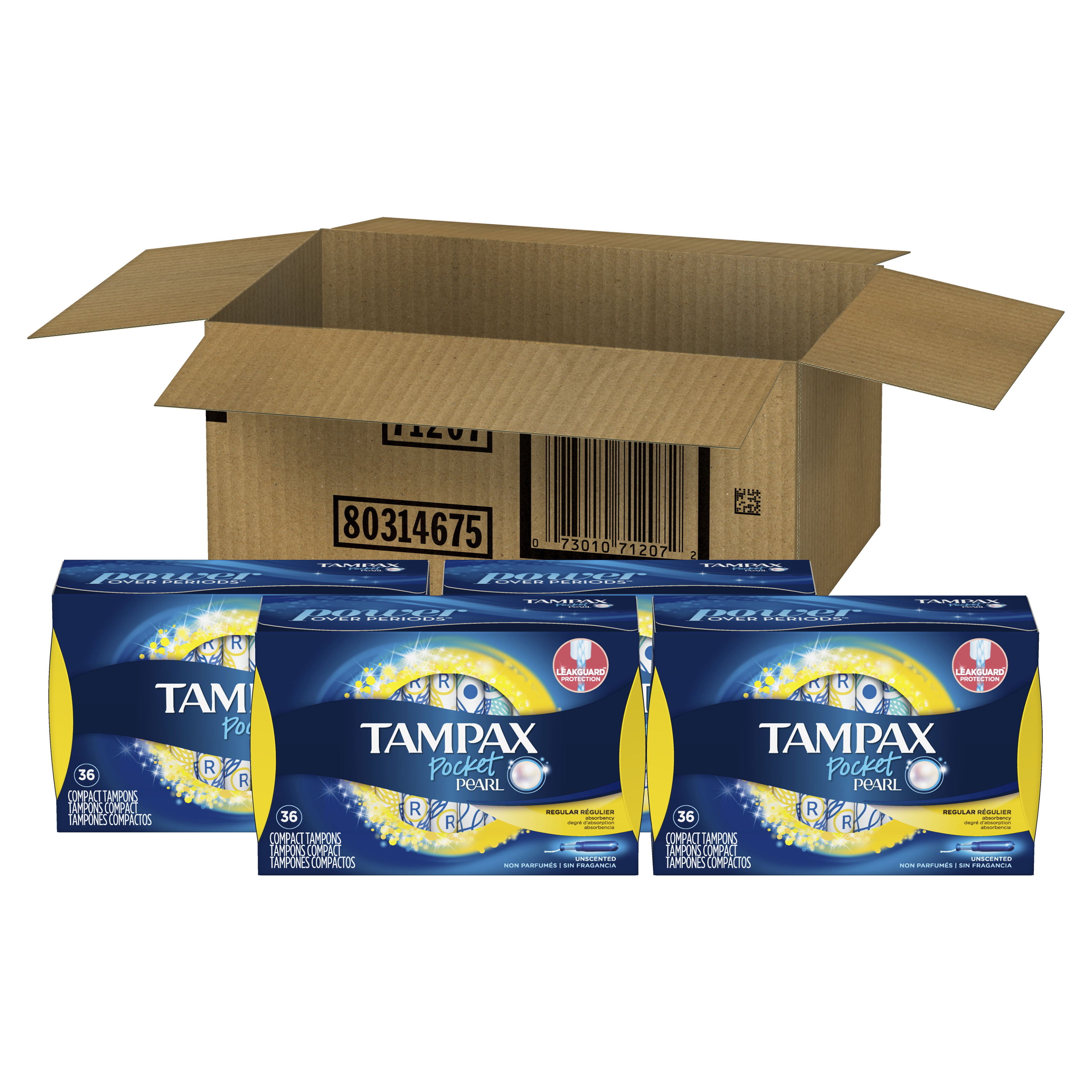 Tampax Pocket Pearl Plastic Tampons, Regular Absorbency, Unscented, 144 Count