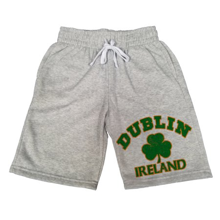 Men's Dublin Ireland Shamrock B1649 Gray Fleece Jogger Sweatpants Gym Shorts X-Large