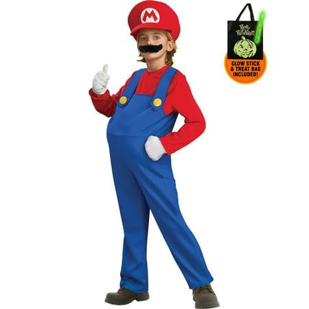 Child Deluxe Super Mario Bros Mario Cost Treat Safety Kit](Halloween Cost)