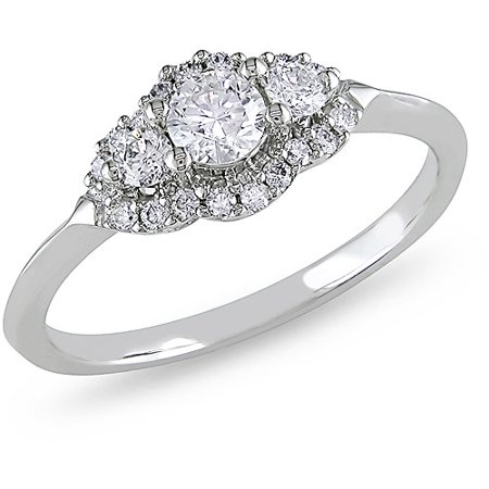 Miabella 1/2 Carat T.W. Diamond 14kt White Gold Three-Stone Engagement Ring, IGL Certified