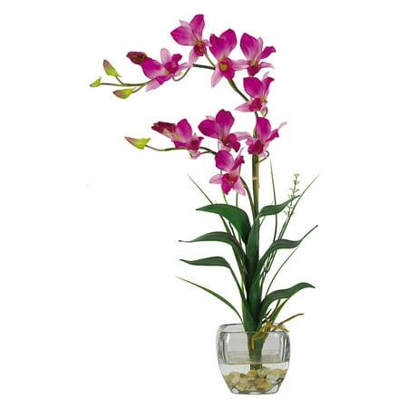 Nearly Natural Dendrobium with Glass Vase Silk Flower Arrangement, - Flower Glasses