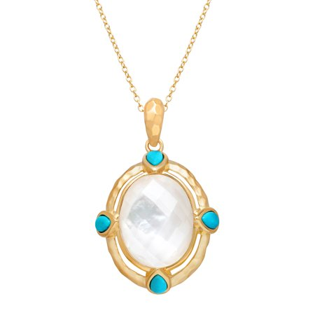 Pendant Necklace with Crystal-Plated Natural Mother-of-Pearl & Turquoise in 14kt Gold-Plated Sterling Silver