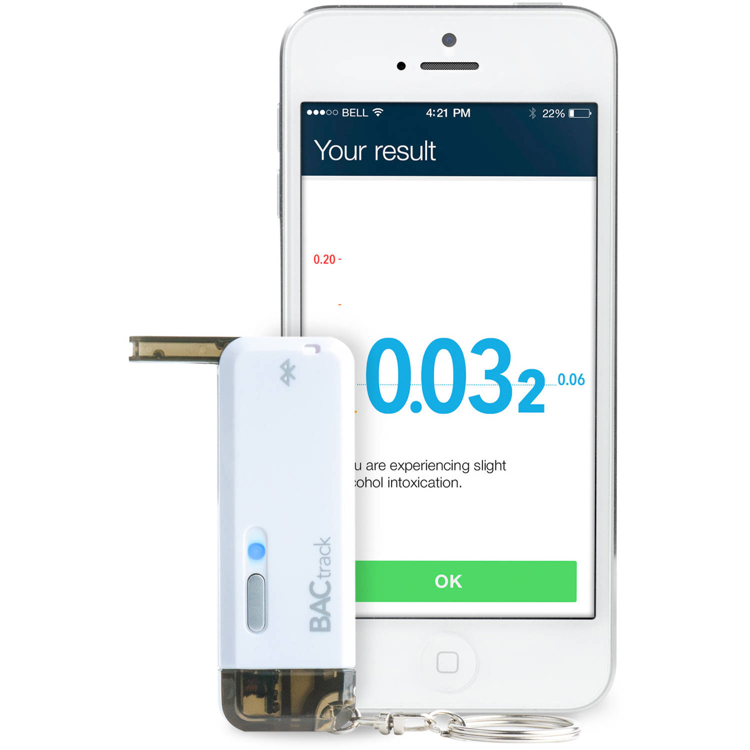 BACtrack Vio Smartphone Keychain Breathalyzer for iPhone and Android Devices