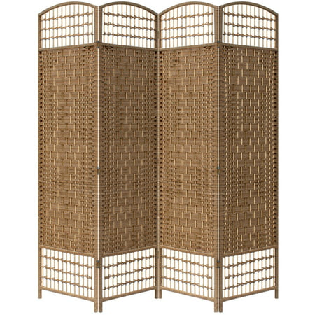 Brown Paper Straw Weave 4 Panel Screen on 2