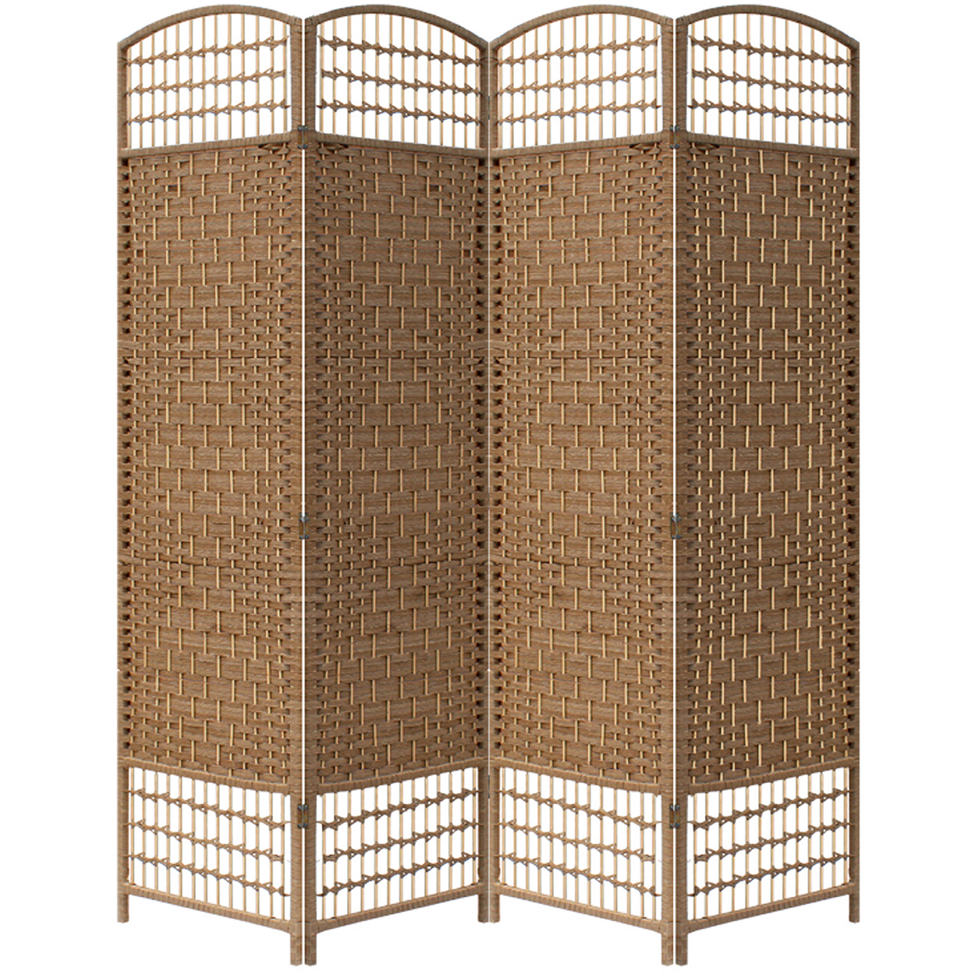 """Brown Paper Straw Weave 4 Panel Screen on 2"""" Legs, Handcrafter"""