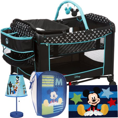 Disney Baby Mickey Mouse Sweet Wonder Play Yard,Choose Your Pattern, Disney Character Rug, Table Lamp & Square Hamper VALUE -