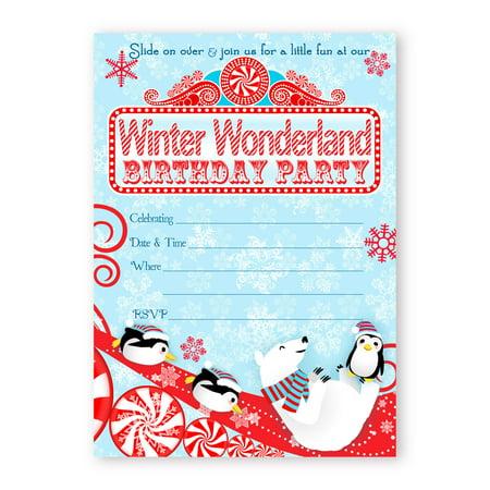Winter Wonderland LARGE Invitations - Red - 10 Invitations 10 Envelopes - Winter Onederland Invitations (Winter Onederland Invitations)