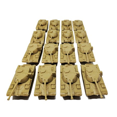 16 Pieces Desert Army Battle Tanks Play Set - Desert Army