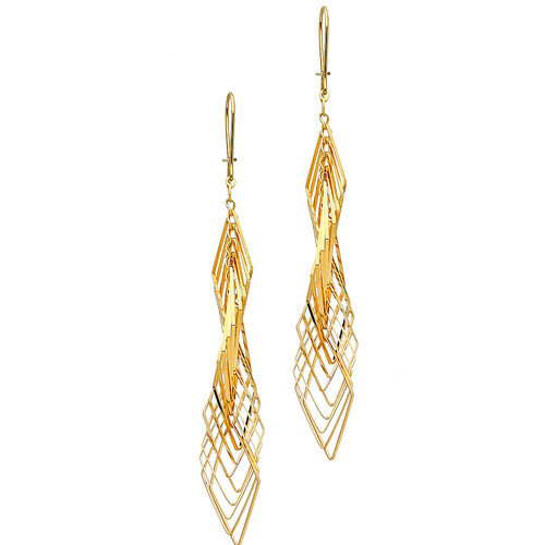 Precious Stars 14k Solid Yellow Gold Fashion Drop Earrings