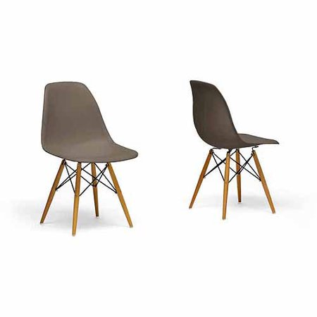 Wholesale Interiors Azzo Plastic Mid-Century Modern Shell Chair, Set of 2, Taupe ()