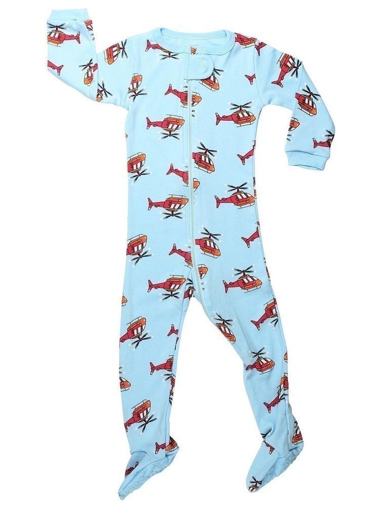 Elowel Little Boys Blue Helicopter Print Zipper Footed Pajama Sleeper 2-5