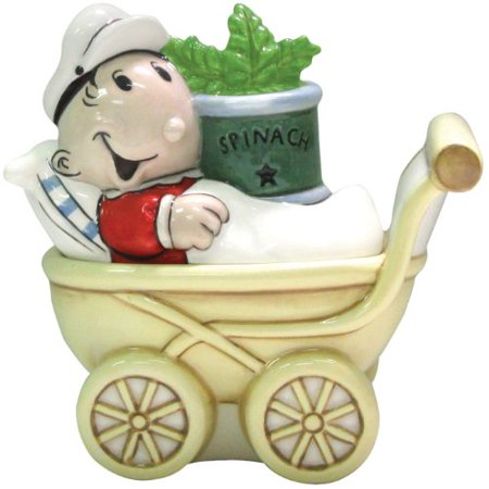 Popeye Magnetic Sweet Pea and Stroller Salt and Pepper Shaker Set, 3-3/4-Inch, Magnetic insert to keep shakers together By Westland - Sweet Pea Popeye