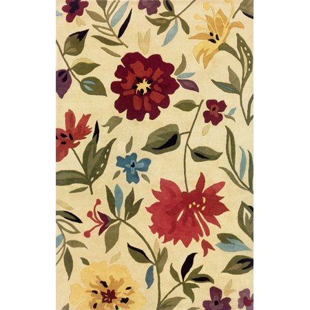 Sphinx Modena Area Rugs - 89106 Country & Floral Ivory Flowers Leaves Stems Rug