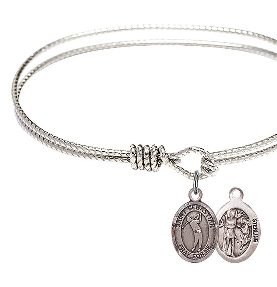 6.25 inch St. Sebastian / Golf Bangle Bracelet Plated in Rhodium with a Sterling Silver Charm