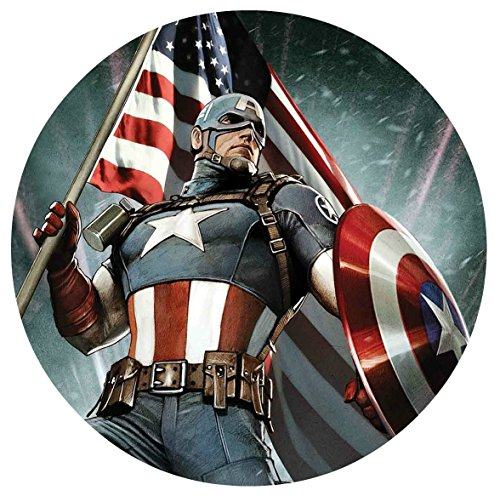 "Captain America Edible Image Photo Cake Topper Sheet Birthday Party - 8"" Round - 14931"