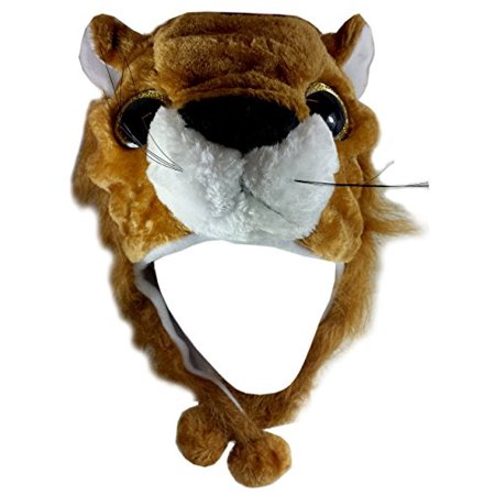 Halloween Party Ideas For Adults Content (Critter Caps Big Eye Leo Lion Plush Animal Hat with Ear Flaps Button Under the Chin - Christmas Holiday Gift)