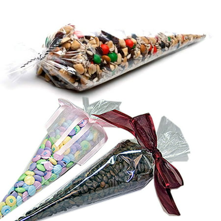 Cone Bags (100 Clear Cone Shaped Treat Bags - 1.4 Mils Thick OPP Plastic Cello Bags Triangle for Favor Treat Gift Bag (7.5 x 17)