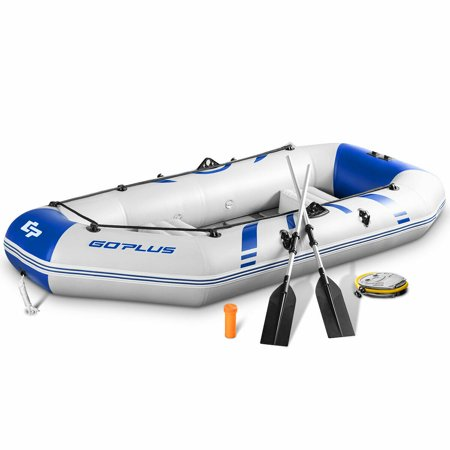Goplus 2-3 Persons Inflatable Fishing Boat w/ Oars and  Air Pump Water (Water Sports Fishing Boat)