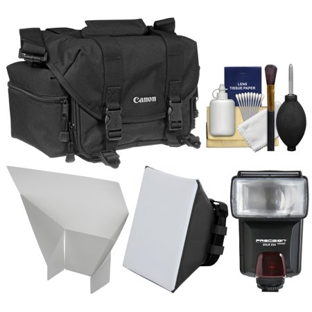 Canon 2400 Digital SLR Camera Case Gadget Bag + Flash + Soft Box + Reflector Kit for EOS 6D, 7D, 77D, 80D, 5D, Rebel T6, T6i, T6s, T7i, SL1, SL2