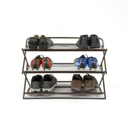 3 Tier Metal (Origami Group RSS03-BRO Sturdy Metal 3 Tier Foldable Closet Shoe Rack, Brown)