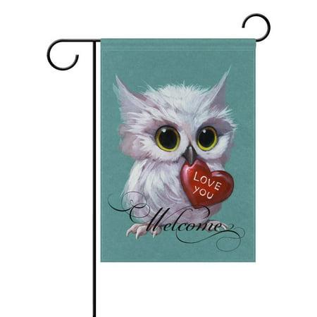 POPCreation 3D Owl Holding A Heart Polyester Garden Flag Outdoor Flag Home Party Garden Decor 28x40 inches
