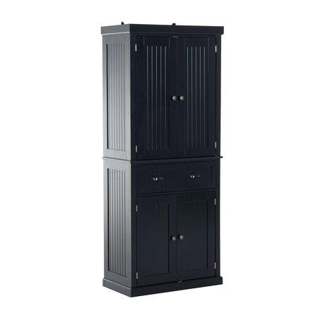 Homcom Large Free Standing Colonial Wood Storage Cabinet Kitchen Pantry Black