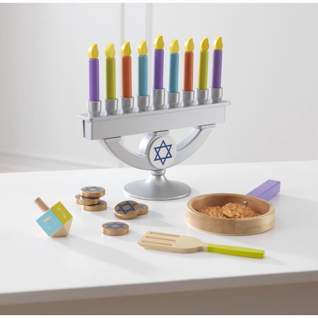 Plastic Dreidel - KidKraft Wooden Chanukah/Hanukkah Menorah, Dreidel, Latke and Gelt Toy Set with 22 Pieces