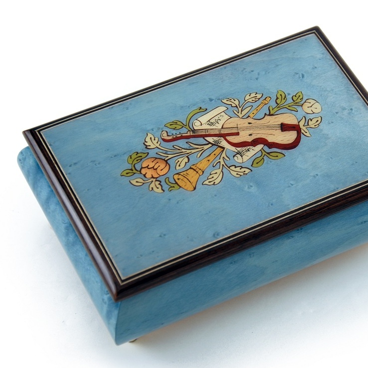 Gorgeous Handcrafted Light Blue Musical Instrument Theme Wood Inlay Music Box - My Lady Creensleeves (Creensleeves)