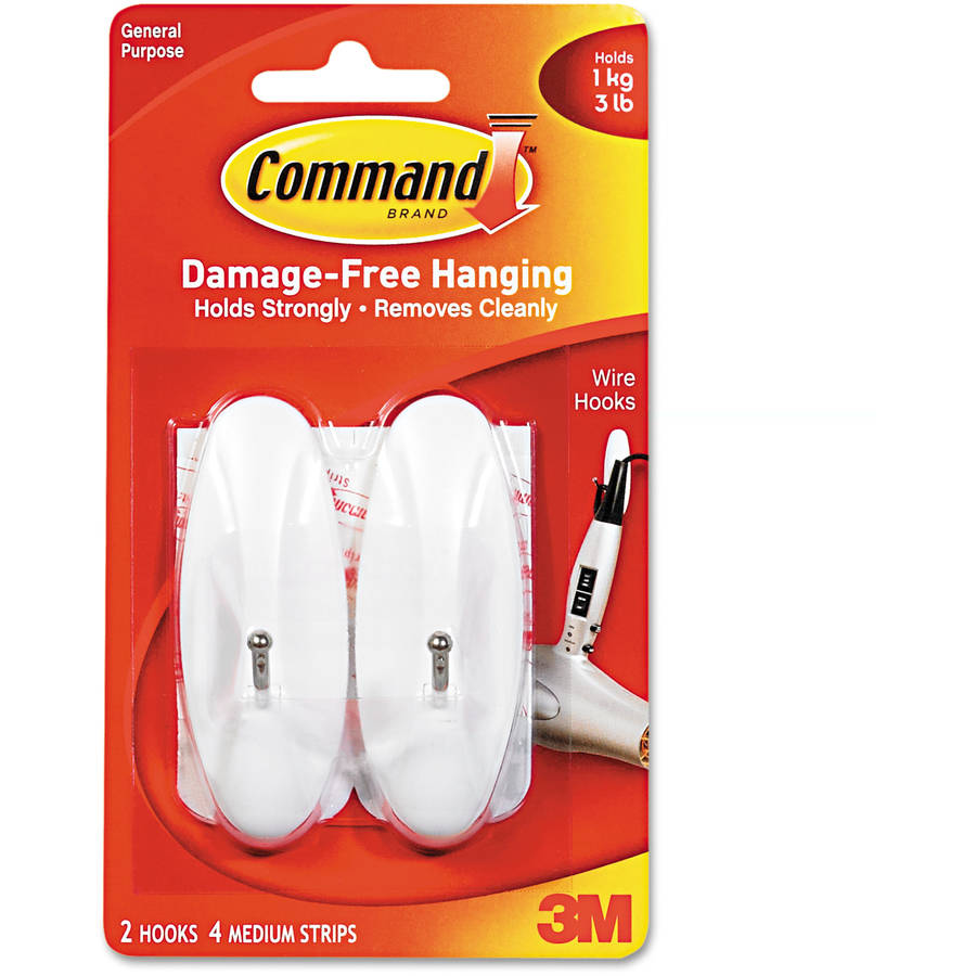 Command General Purpose Plastic 2-pack Medium Hooks, 3lb. Capacity