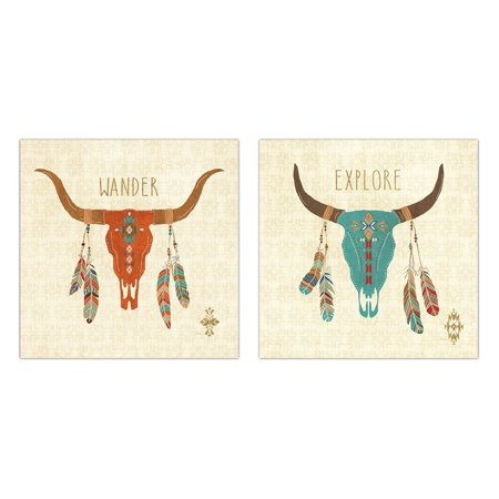 Gorgeous Teal and Orange Cow Skull and Feathers