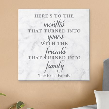 Personalized Friends Are Family Canvas-Available as Canvas or Framed Print White Personalized Print