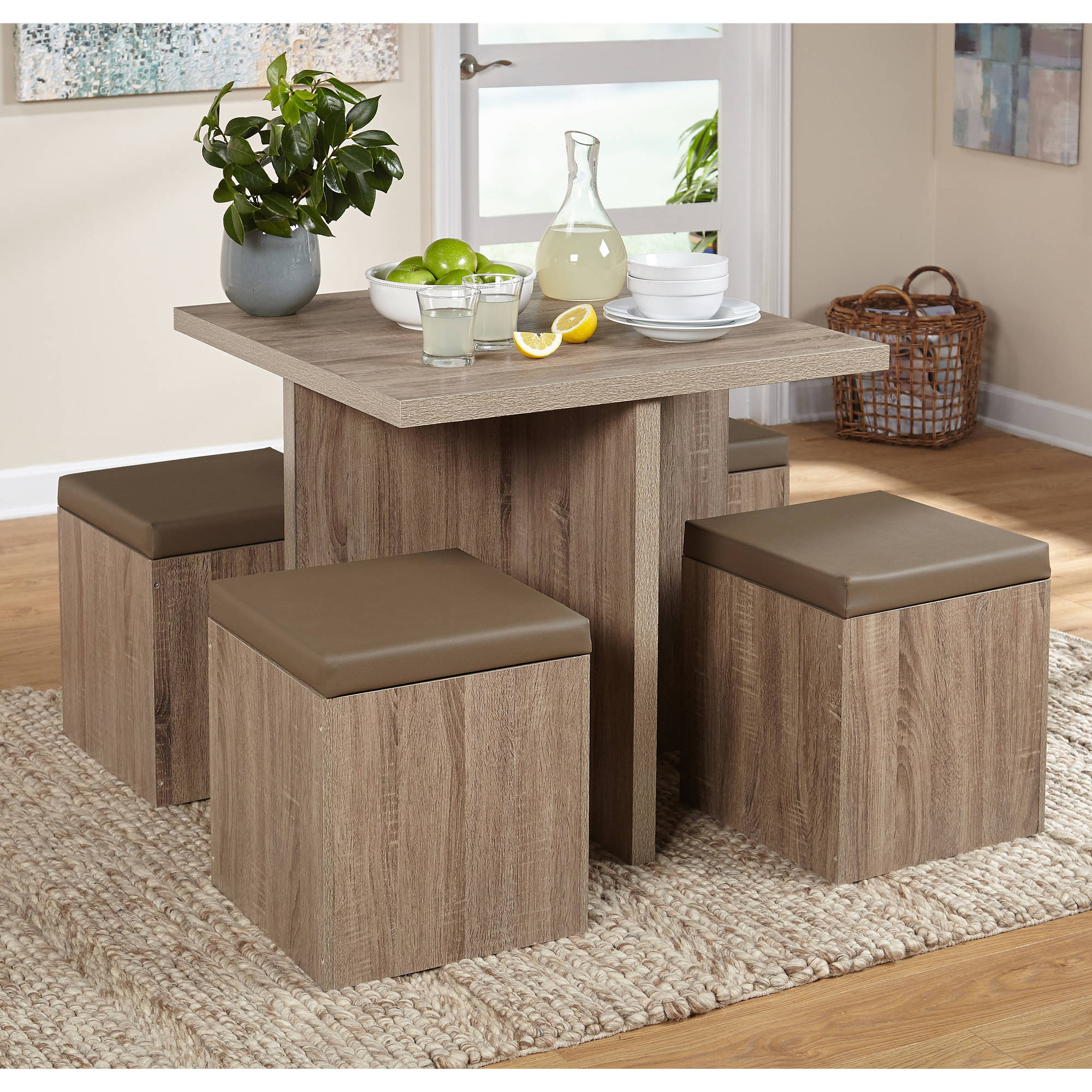 Click here to buy 5-Piece Baxter Dining Room Set with Storage Ottoman, Multiple Colors by Overstock.