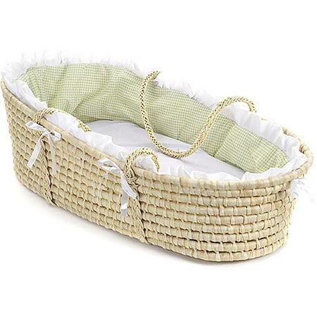 Badger Basket Natural Moses Basket, Sage Gingham Bedding