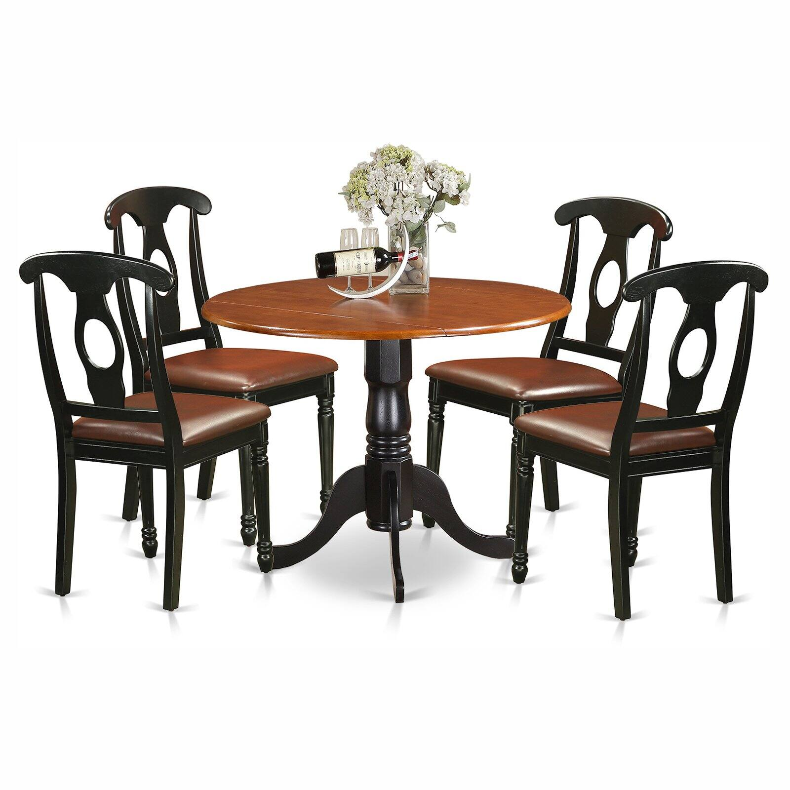 East West Furniture Dublin 5 Piece Drop Leaf Dining Table Set With Kenley Faux Leather Seat Chairs Walmart Com Walmart Com