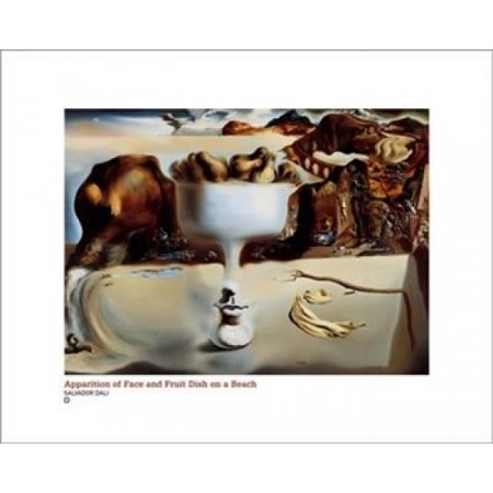 Salvador Dali Dish - Apparition Of Face And Fruit Dish On A B Poster Print by Salvador Dali (20 x 16)