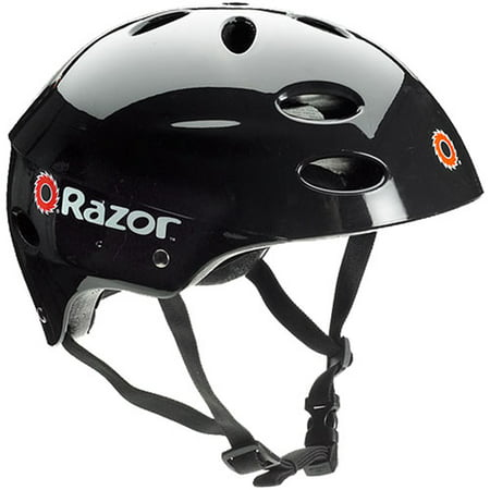 Razor V17 Child's Multi-Sport Helmet, Glossy Black, For Ages 5-8 (Toddler Helmet 3 Year Old Girl)
