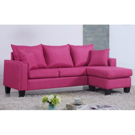 modern linen fabric small space sectional sofa with reversible chaise. Black Bedroom Furniture Sets. Home Design Ideas
