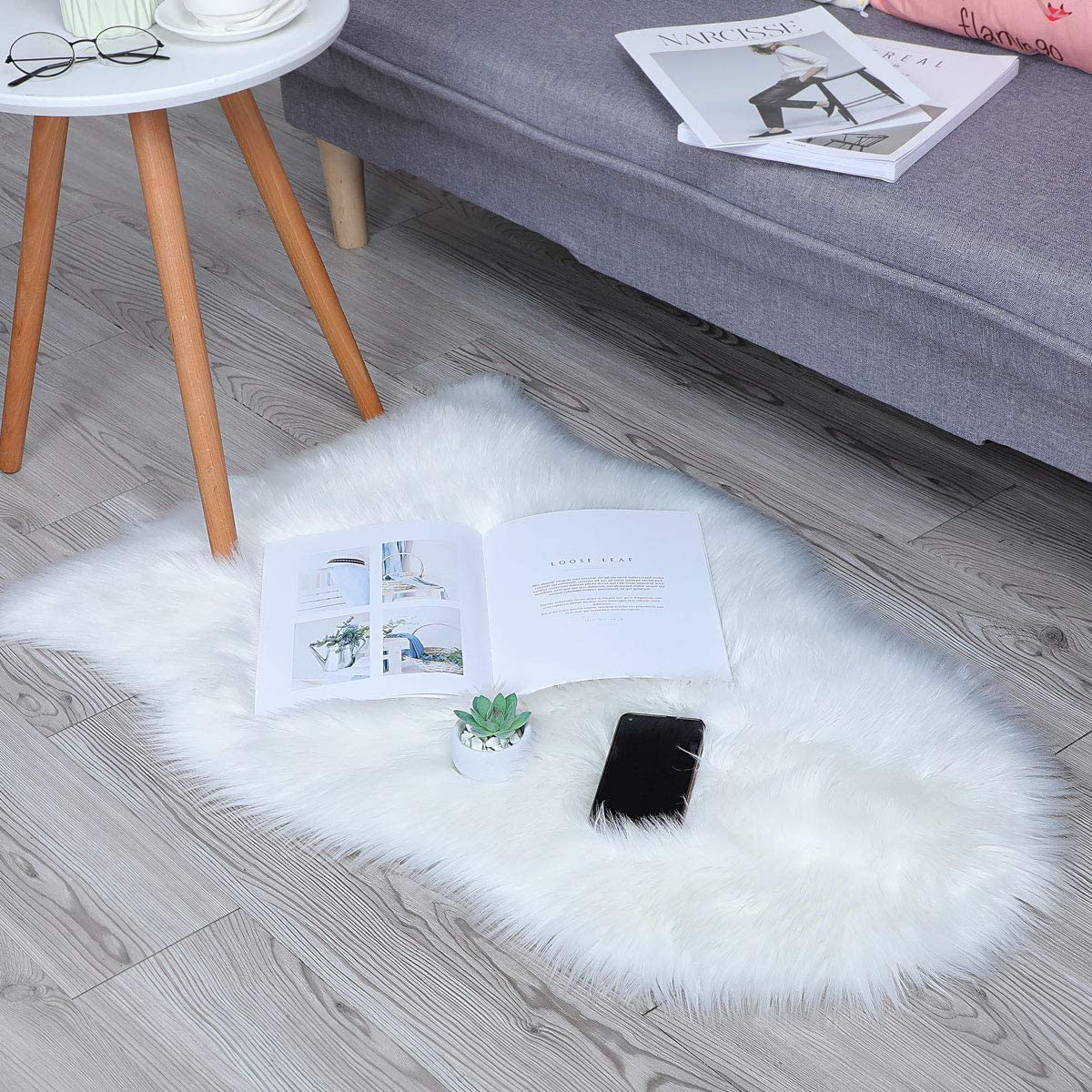 Faux Fur Sheepskin Style Rug, Faux Fleece Chair Cover Seat Pad Soft Fluffy  Shaggy Area Rugs for Bedroom Sofa Floor (60x90cm, White)   Walmart Canada