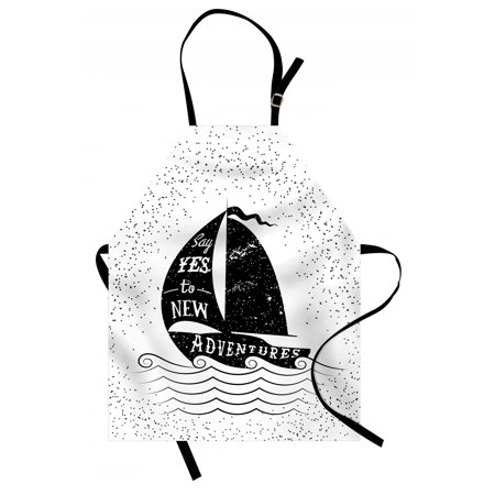 Adventure Apron Being Open to the New Adventures Quote on a Small Boat Marine Journey Theme, Unisex Kitchen Bib Apron with Adjustable Neck for Cooking Baking Gardening, Black White, by Ambesonne