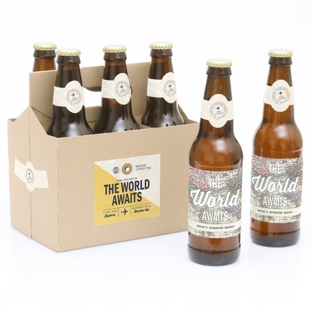 World Awaits - Travel Themed Decorations for Women and Men - 6 Beer Bottle Label Stickers and 1 Carrier](Beer Themed Decorations)