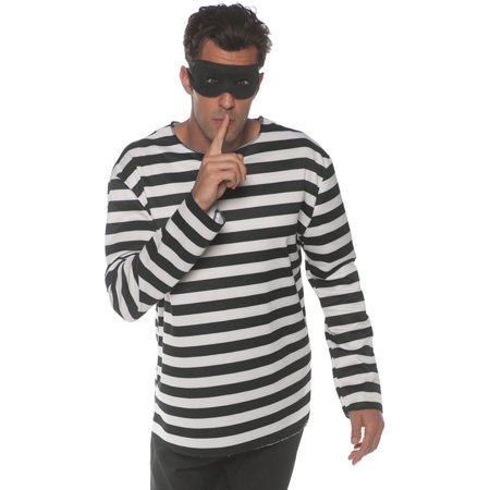 Mens Classic Stripe Shirt (Men's Classic Black And White Striped Thief Shirt Large 42-46 )
