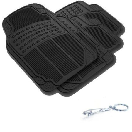 (Jaguar Car Truck Black WaterProof Rubber Floor Mats Front & Rear Full Set & Jaguar Fancy 3D Keychain Holder)
