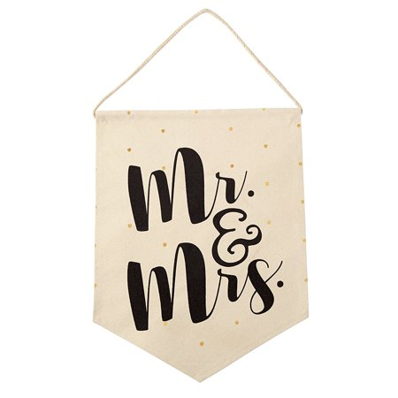 - Wedding Decorative Canvas Hanger, Mr./Mrs., Printed with Mr. & Mrs. By Mud Pie
