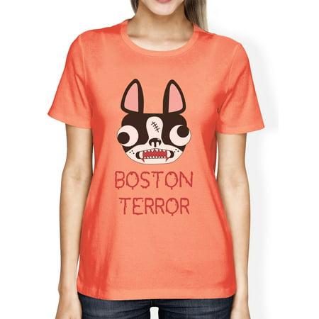 Boston Terror Terrier Shirt Dog Lovers Halloween Custom For Women Boston Terrier Dog Custom Photo