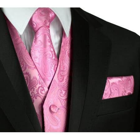 Italian Design, Men's Formal Tuxedo Vest, Tie & Hankie Set for Prom, Wedding, Cruise in Rose Petal Paisley - Prom Suits For Men
