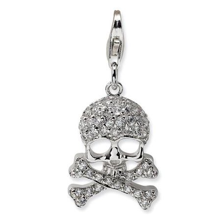 Amore La Vita Sterling Silver CZ Skull and Cross Bones with Lobster Clasp