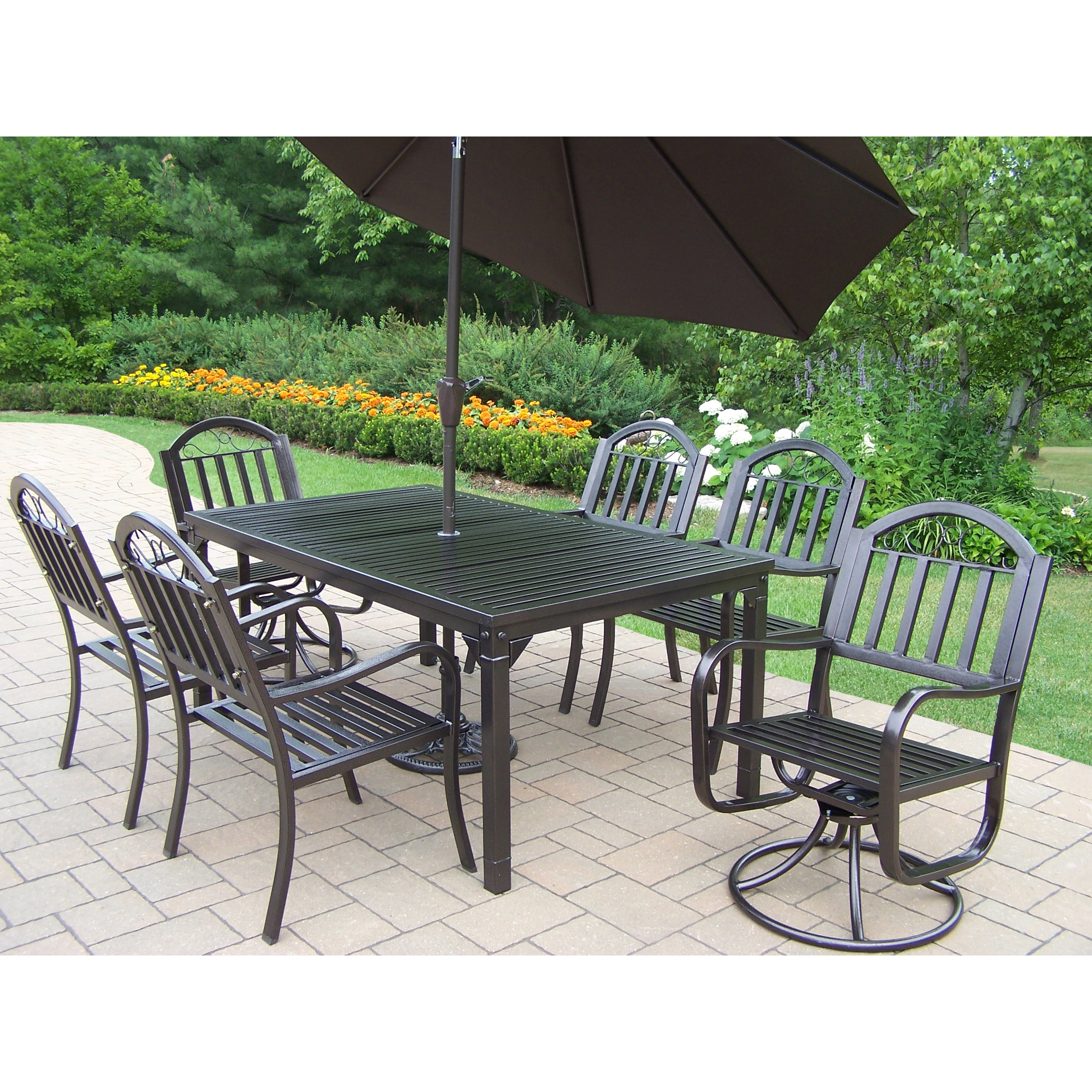 Oakland Living Corporation Hometown 9-Piece Outdoor Dining Set with Brown Umbrella