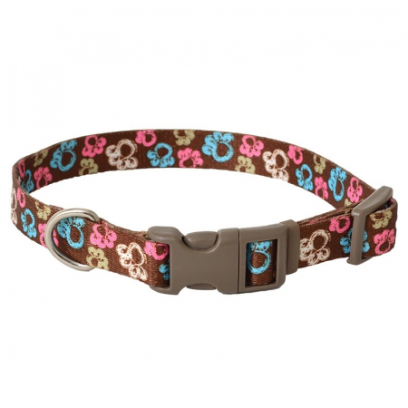 """Pet Attire Styles Adjustable Dog Collar Special Paw Brown - 10""""-14"""" Long x 5/8"""" Wide"""
